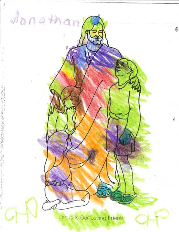 Jonathan began coloring this picture in his Sunbeam class, then finished it promptly after we arrived home.