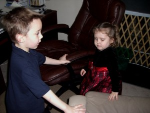 """Jonathan """"helping Mommy"""" by caging Emma in"""