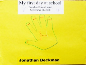 """First day of preschool - a handprint momento for mom. Cute. I think this would have been especially good for those who were having problems with their """"baby"""" going to preschool."""