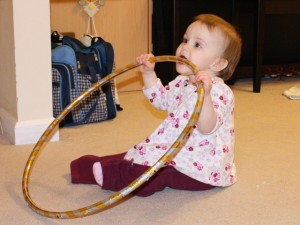 ... and a hula hoop. Just a small selection of the many things she will put in her mouth.